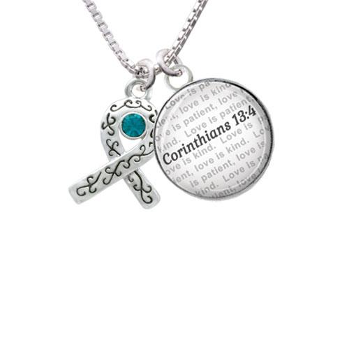 Scroll Ribbon with Green Crystal Bible Verse Corinthians 13:4 Glass Dome Necklace by Delight and Co.