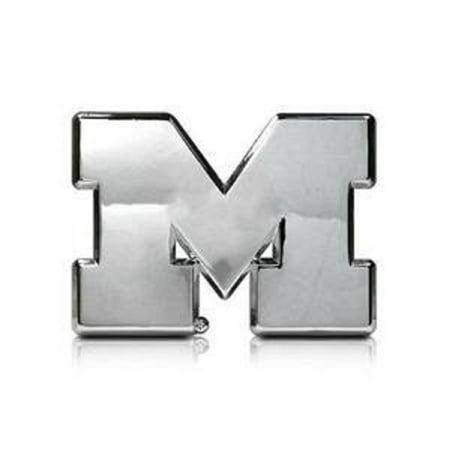 Michigan Wolverines Silver Auto Emblem Decal Sticker