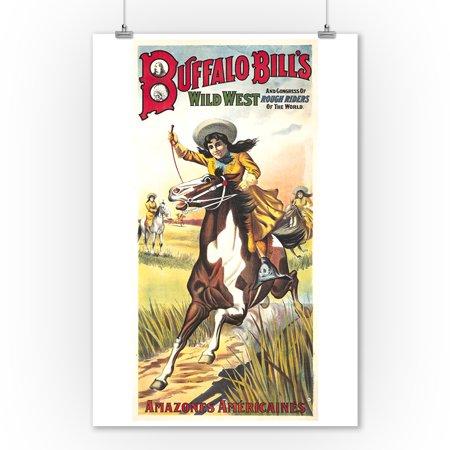 Buffalo Bill's Wild West - Amazones Americaines Vintage Poster France c. 1905 (9x12 Art Print, Wall Decor Travel