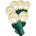 Holiday Time LED Super Bright Diamond Cut C9 Christmas Lights Cool White 10