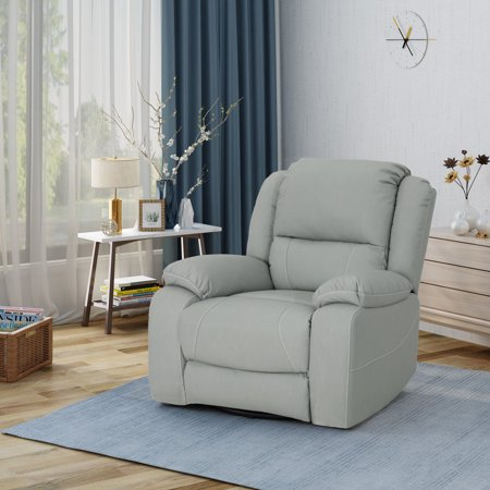 Noble House Classic Tufted Leather Swivel Recliner, Light Grey