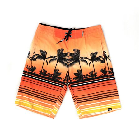 4fe68d88ff Hawaii Hangover - Men's Beach Wear Board Shorts with Pocket in Orange  Sunset Scenery Palms 34 - Walmart.com