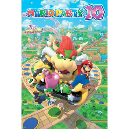 Mario Party 10 Nintendo Wii U 2015 Party Video Game Series Nd Cube Bowser Mini Games Poster - (Mario And Luigi Superstar Saga Wii U)