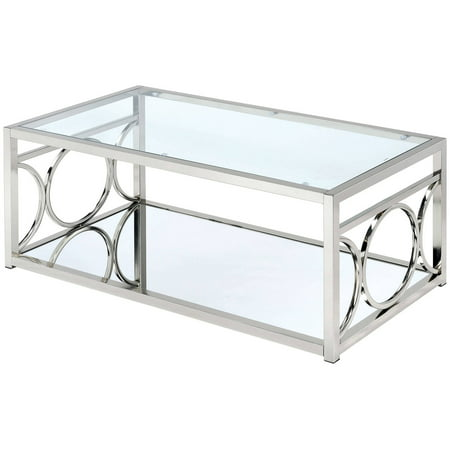 Furniture of America Hirsh Contemporary Glass Coffee Table, Multiple Colors ()