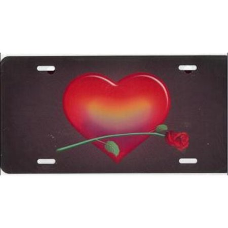 Heart Red with Red Rose Airbrush License Plate Free Names on this Air Brush - image 2 of 2
