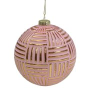 """Matte Pink and Gold Striped Glass Ball Christmas Ornament 4"""" (100mm)"""