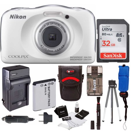 Nikon COOLPIX W100 Waterproof Digital Camera (White) w/ 32GB Accessory