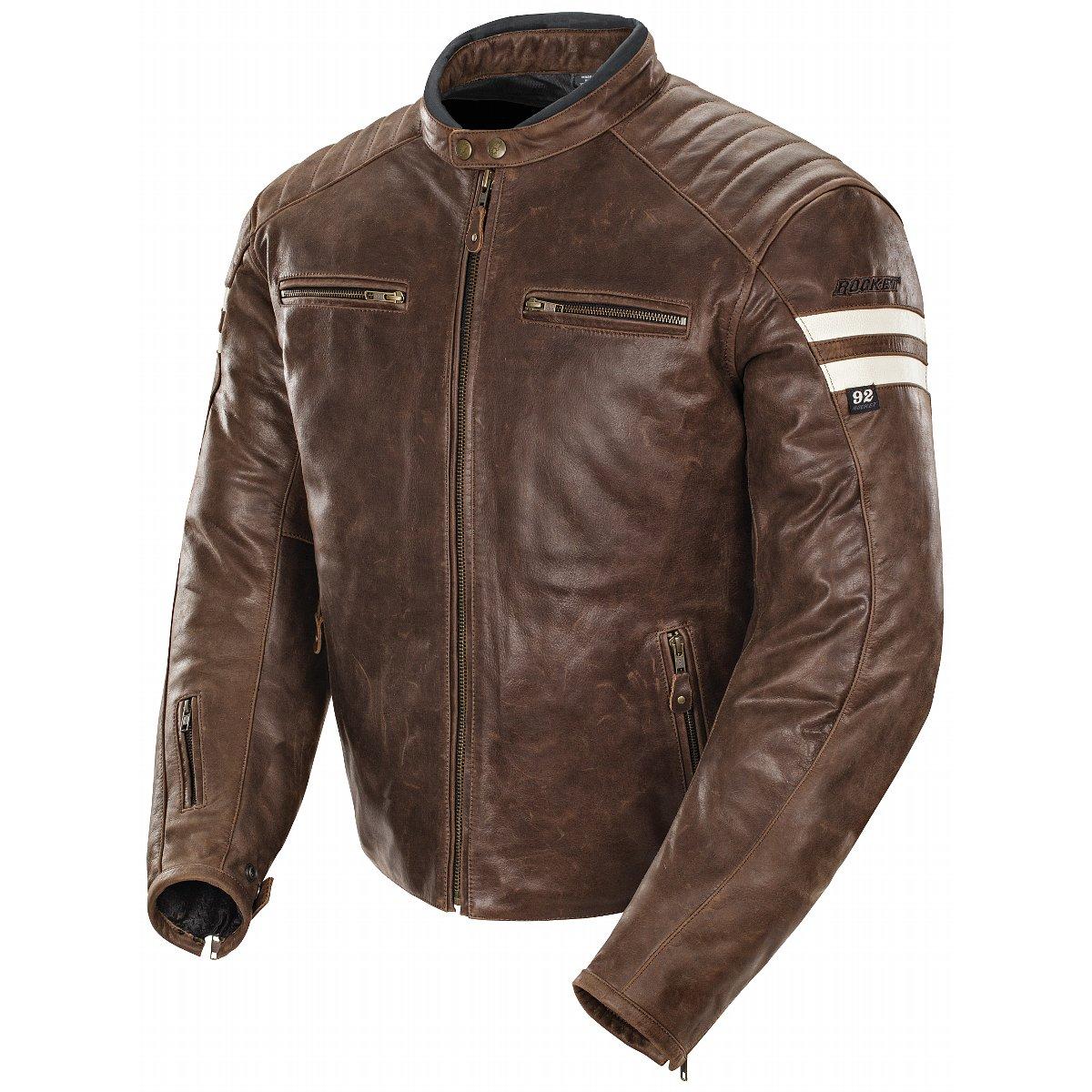 Joe Rocket Classic 92 Mens Brown/Cream Leather Jacket