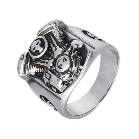 Hermah Cool Punk Mens Boys Motorcycle Engine Skull Ring 316L Stainless Steel Ring US Size 8-13 - Rings For Boys