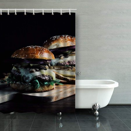 WOPOP Burger With Mushrooms Arugula Tabasco Sauce Gruyere Cheese Brioche Bun Shower Curtain Bathroom Curtain 48x72 inches