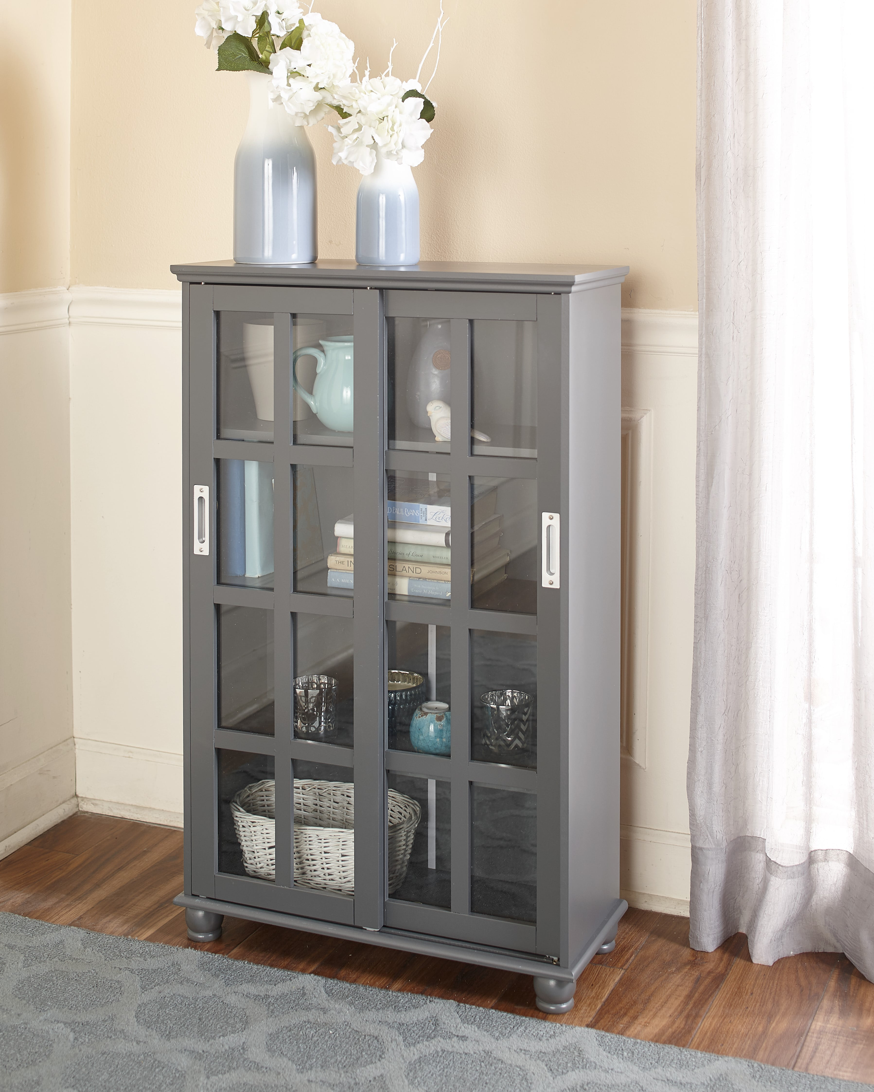 Sliding Door Media Cabinet Bookcase