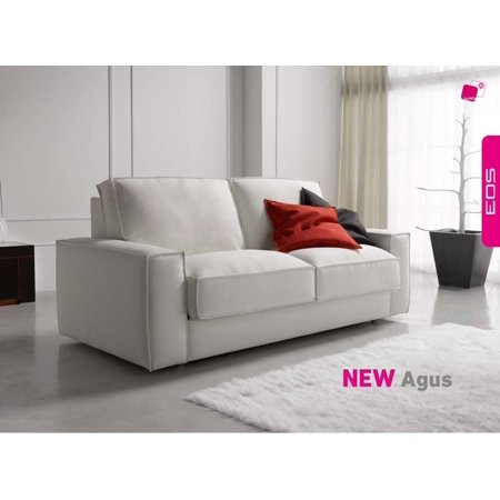 Esf Agus Contemporary White Leatherette Sofa Sleeper Bed Made In Spain