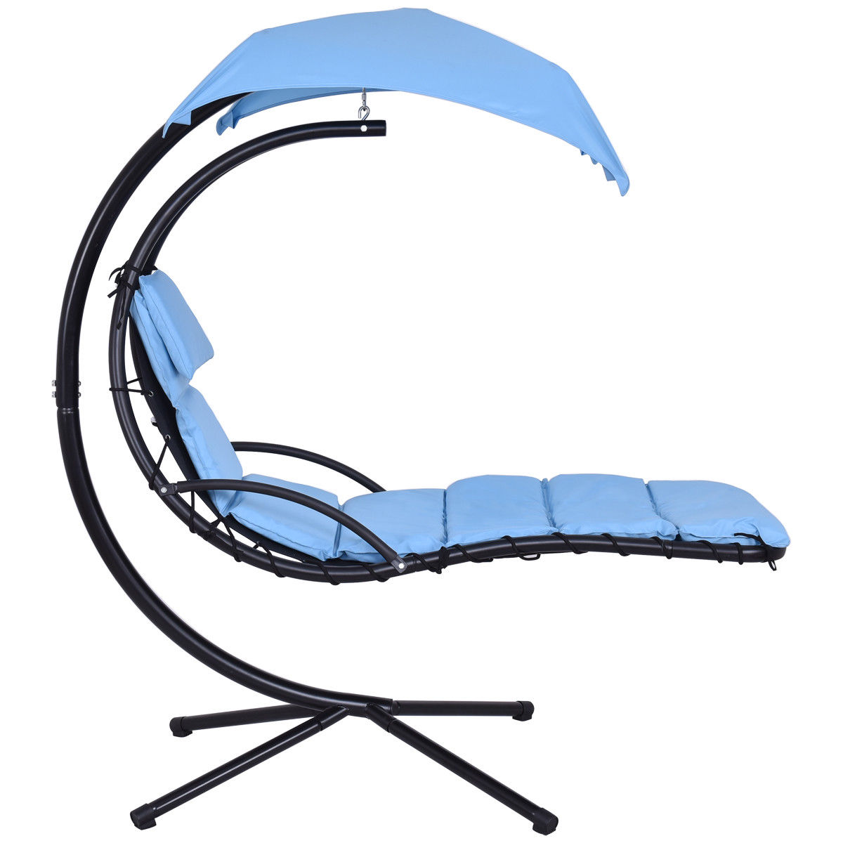 Gymax Blue Swing Hammock Chair Hanging Chaise Lounger Chair Arc Stand Canopy