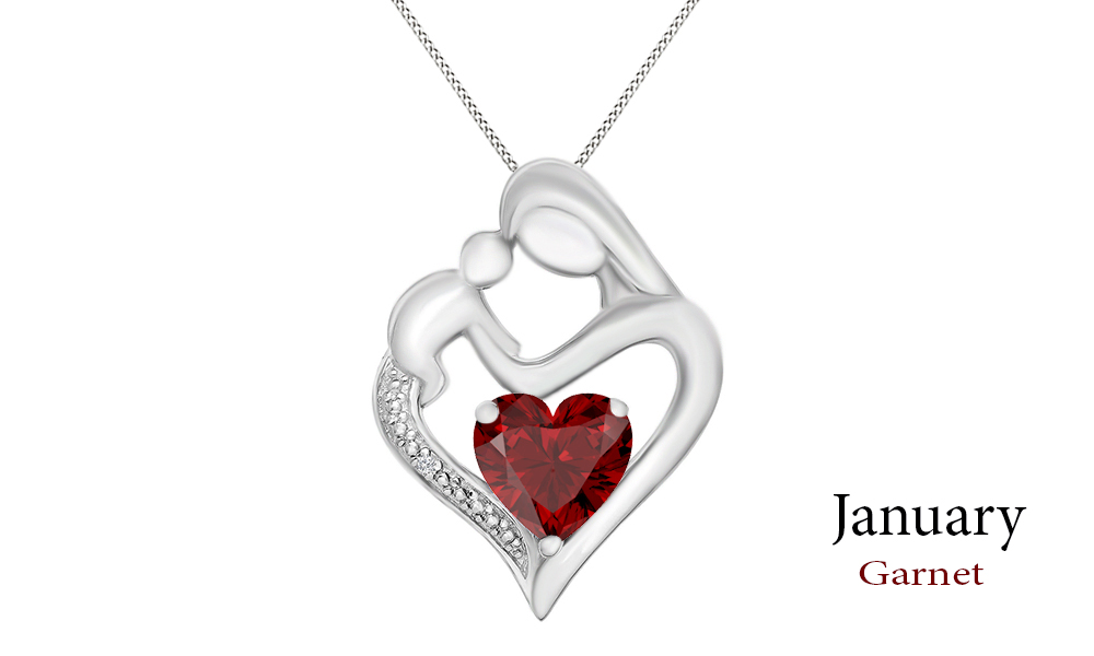 Jewel Zone US Simulated Ruby Iced Out Pendant Necklace in 14k Gold Over Sterling Silver