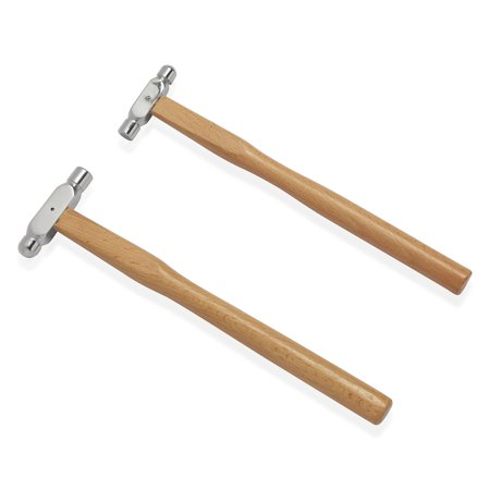 Stainless Steel Ball-Peen Hammers Set of 2 with Beach Wood Handle