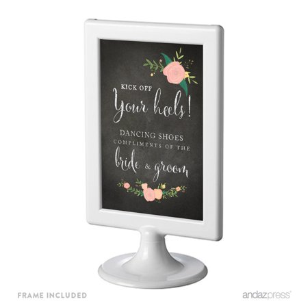 Dancing Shoes - Kick Off Your Heels Framed Chalkboard & Floral Roses Wedding Party Signs (Off Board)