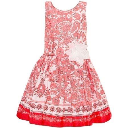 259d5a0c6190 Bonnie Jean - Bonnie Jean Little Girls Coral Floral Aesthetic Print Easter  Dress - Walmart.com