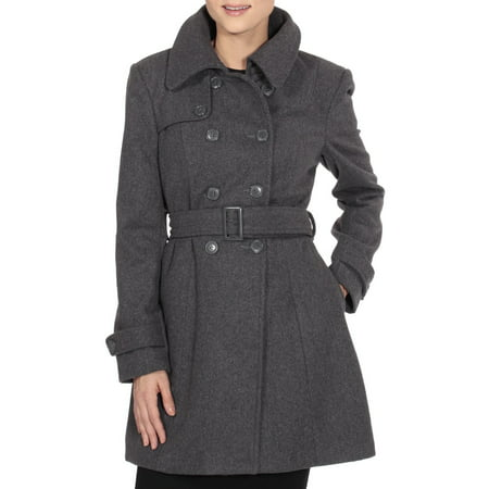 Keira Women's Trench Coat Double Breasted Wool Jacket Belted Blazer Gray Small Small Jacket Coat