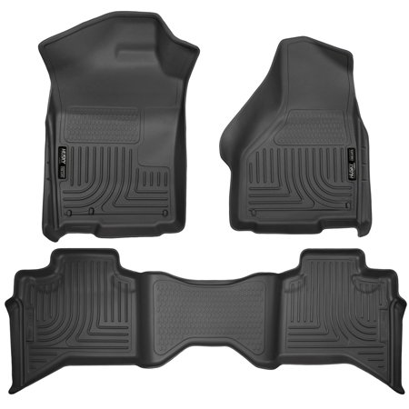 Husky Liners Front & 2nd Seat Floor Liners Fits 09-18 Ram 1500 Quad Cab Cab Black Front Floor Liners