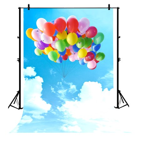 GCKG 7x5ft Sky Landscape Various Color Balloons Blue Sky White Clouds Wedding Curtain Polyester Photography Backdrop Photography Props Studio Photo Booth Props - image 4 de 4