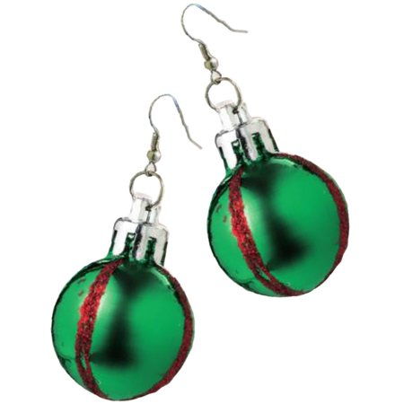 Womens Green Christmas Ornament Dangling Earrings Costume Accessory