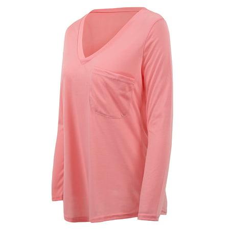Femmes Solide Casual T-Shirt Top Deep V Neck Blouse Plus La Taille Tefamore