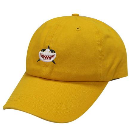 City Hunter C104 Shark Face Cotton Baseball Dad Caps 19 Colors (Gold)
