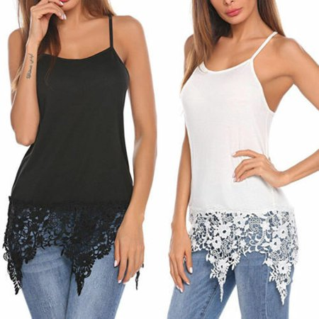 Women's Sexy Summer Spaghetti Strap Vest Blouses Lace Trim Shirts Tank Tops White (Lace Trim Swing Top)