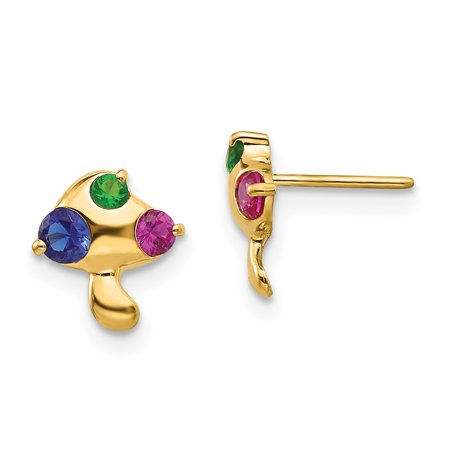 14k Yellow and White Gold Madi K Multicolor CZ Children's Mushroom Earrings Length 9mm - image 2 of 2