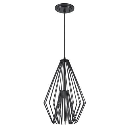 Aspen Creative 61081-1 Adjustable One-Light Hanging Mini Pendant Ceiling Light, Transitional Design in Black Finish, Metal Wire Shade, 12