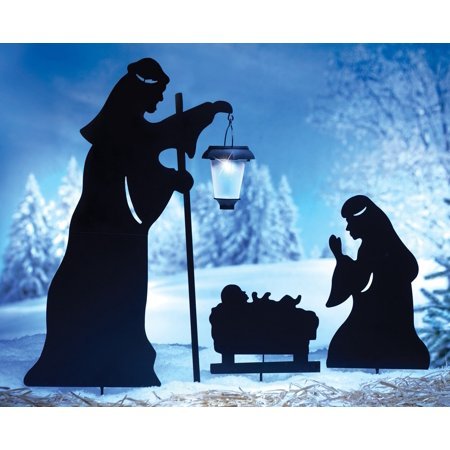 outdoor solar christmas decorations nativity shadow with led lighted lantern garden stakes set - Solar Christmas Decorations Outdoor