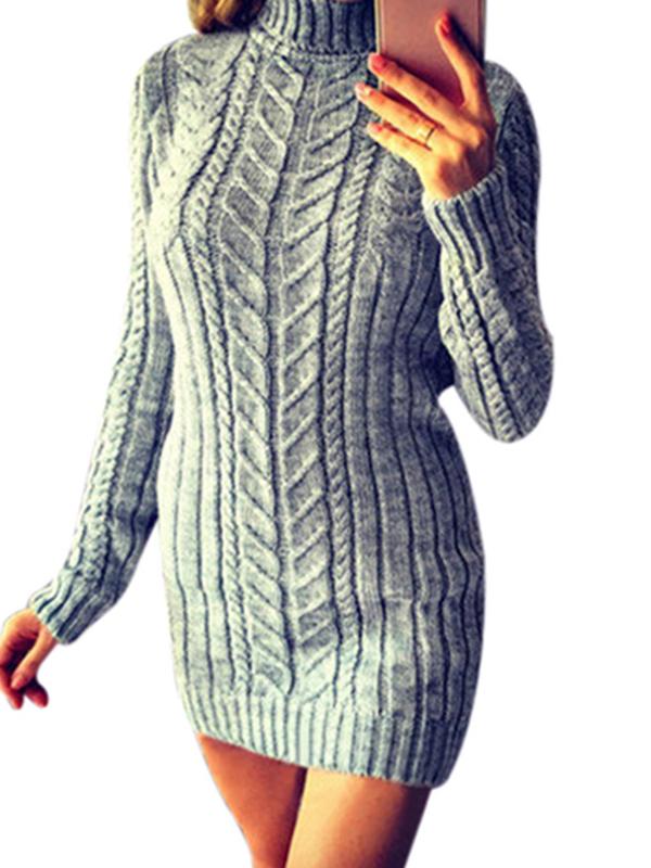 Women autumn winter turtleneck long sleeve sweater dress Long sleeve knitted dress Solid knitted long dress