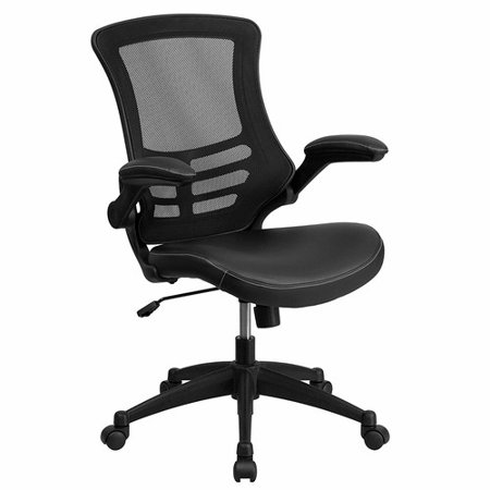 Mom Air Mesh Leather (Flash Furniture Mid-Back Black Mesh Swivel Task Chair with Leather Padded Seat and Flip-Up)