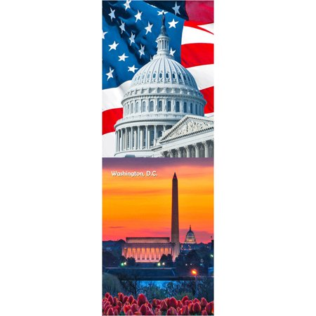 Washington Monument by Day and Night & U.S. Capitol and American Flag: 2 3D Lenticular Postcard - 4x6 Greeting (Capitol Card)