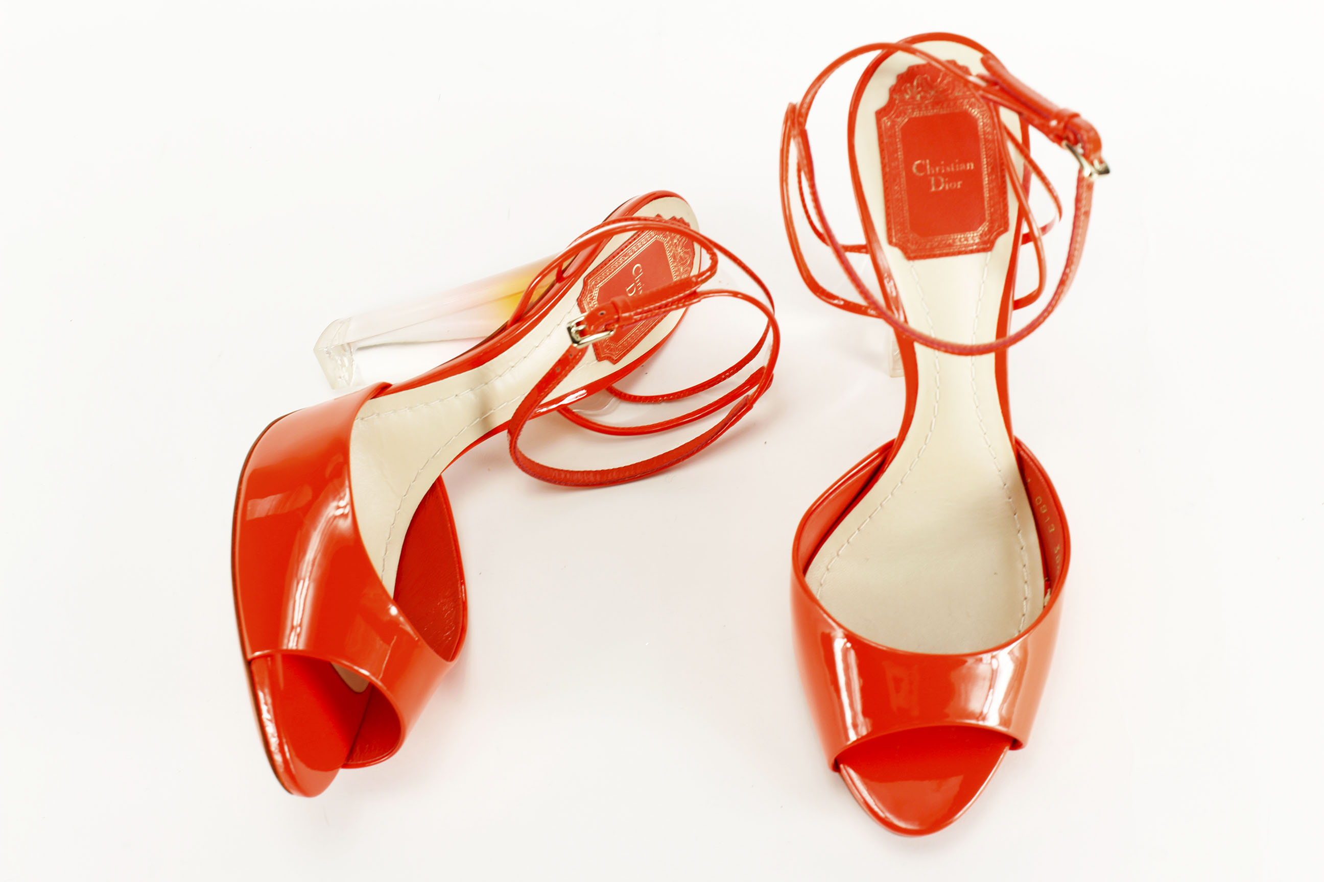 Christian Dior Women's Open Toe - Orange Leather