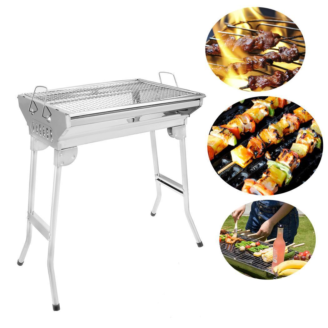 Folding Charcoal Gas BBQ Grill Set  Picnic Camping Barbecue Grill Stainless Steel