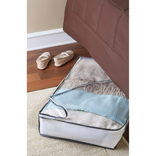 Mainstays Jumbo UnderBed Storage Bags White with Grey Trim 5 Pack