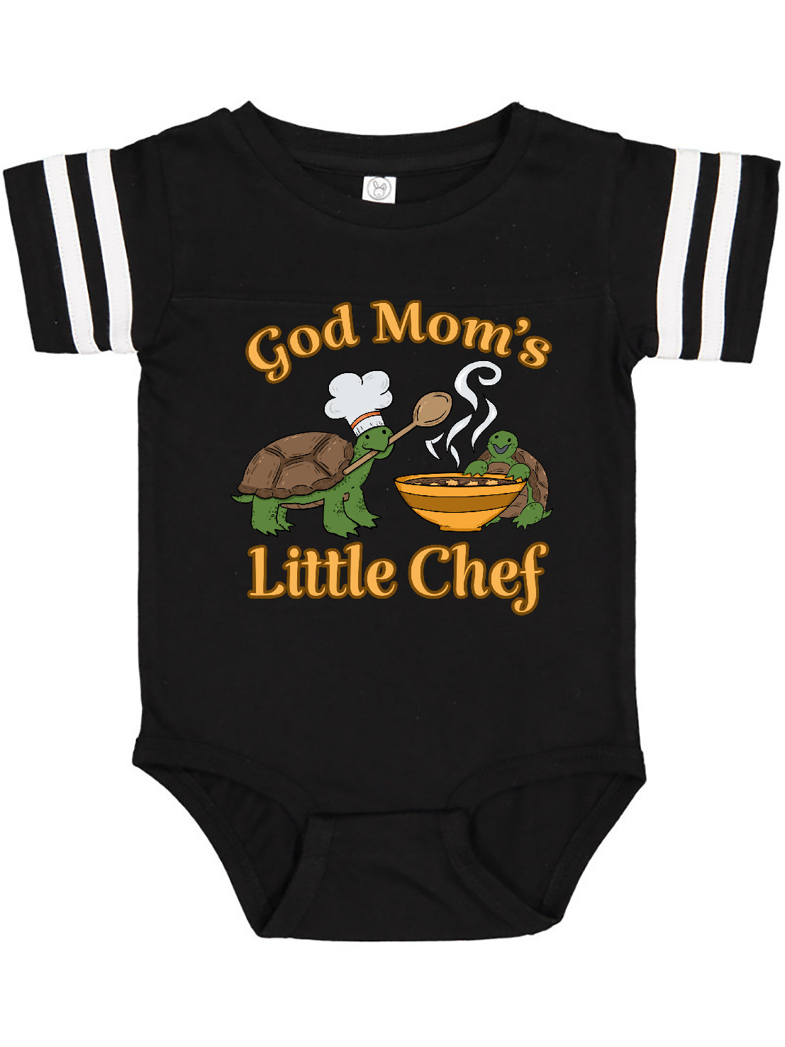 inktastic God Moms Little Chef with Cute Turtles Long Sleeve Creeper