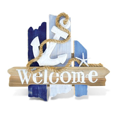 Puzzled Nautical Wooden Ocean Breeze Beach Theme D?cor Real Natural Wood Handcrafted Hand Painted Atlantic Anchor Welcome Sign Home Accent Kitchen Bedroom Living Room Unique Gift Souvenir 11 -