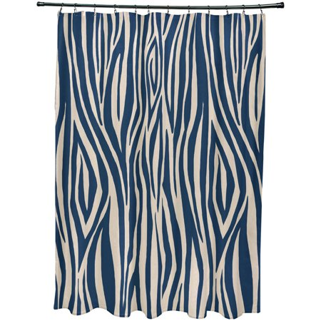 "Simply Daisy 71"" x 74"" Wood Stripe Geometric Print Shower Curtain"