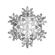 Lux Accessories Silvertone Faux Pearl Xmas Holiday Snowflake Brooch Pin