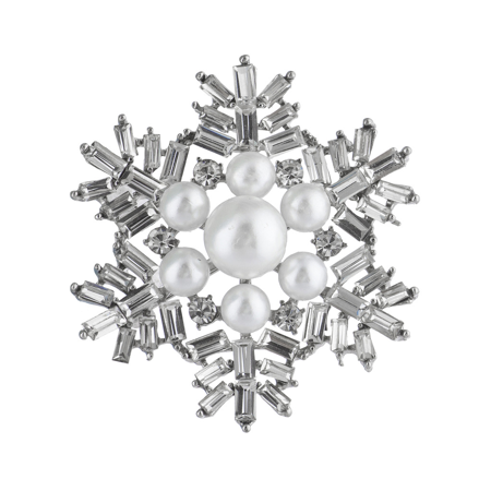 Lux Accessories Silvertone Faux Pearl Xmas Holiday Snowflake Brooch -