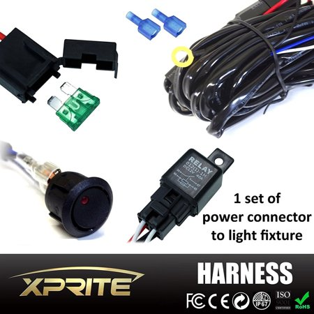 - Xprite Off Road LED Light Bar Wiring Harness with 4 Leg - 40 Amp Relay ON OFF Switch