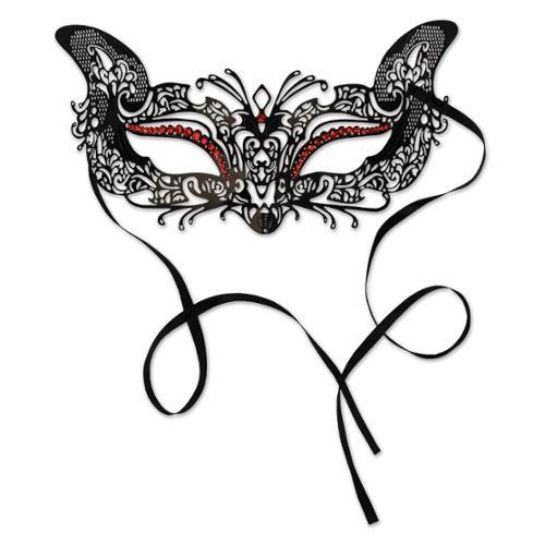 Pack of 6 Elegant Black and Red Cat Metal Filigree Mardi Gras Masquerade Masks