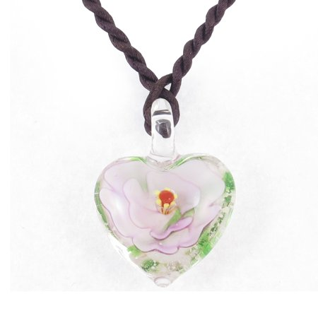 Light Pink 3D Flower Leave Inside Heart Shape Glass Pendant Necklace (Red Glass Heart Necklace)