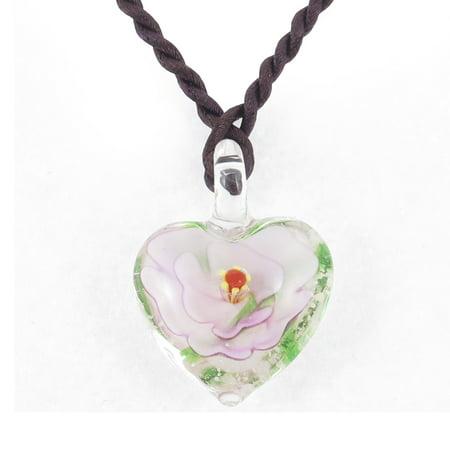 Light Pink 3D Flower Leave Inside Heart Shape Glass Pendant Necklace Czech Glass Flower Necklace