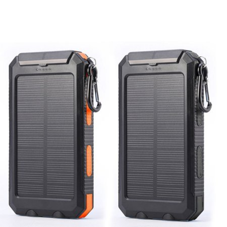 Solar 20000mAh Power Bank with Dual USB Solar Panel Charger with 2 LED Light Carabiner Compass Portable for Emergency Outdoor Camping Travel