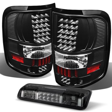 Fit 04-08 Ford F-150 Black LED Tail Lights + Smoked LED 3rd Brake Lamp 2004-2008 Corvette Third Brake Light