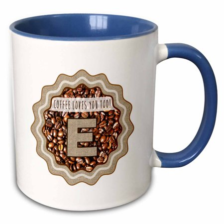 3dRose Initial E- Coffee Loves You Too Monogram design - Two Tone Blue Mug, (Oc Monogram)