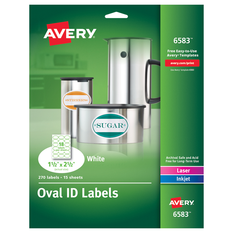 Avery Oval Easy Peel Labels, 1 1/2 x 2 1/2, Matte White, 270/Pack